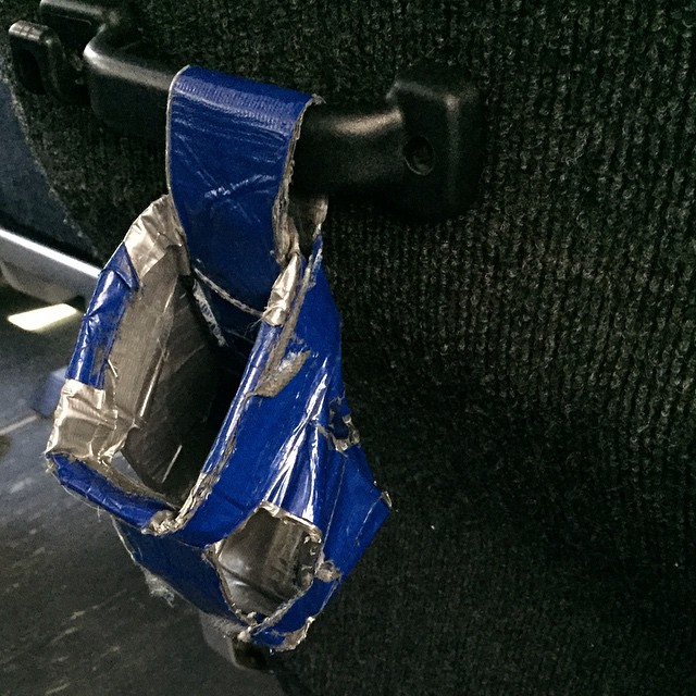 This bus company is all class. Also might be owned by MacGuyver. #ducttape #bottleholder #conference #houston #bus #crafty