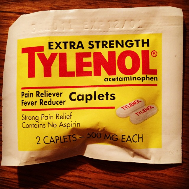 My parents love antiques. For instance this package of Tylenol that expired in 2001. #keepsakes #family #holidays #heirlooms #medicine #hangover